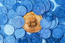 Bitcoin Crypto Digital Currency Around With Physical Coin Money Thai Bath.