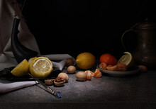 Still Life With Fruit, Walnuts And Vintage Jug In Retro Style
