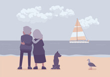 Active Seniors, Elderly People Standing On Beach In Hug, Rear. Couple Of Older Adults Enjoying Ocean, Sea, Sailboat View Together, Romantic Reminiscence. Beautiful Seascape Nature Scenery Background