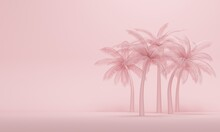 Palm Trees On Pink Studio Background With Copy Space. 3d Rendering