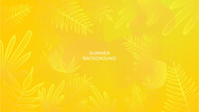 Colourful Minimal Summer Background With Flowers And Tropical Summer Leaf. Luxury Minimal Style Wallpaper With Golden Line Art Flower And Botanical Leaves, Organic Shapes. Summer Sale Banner Vector