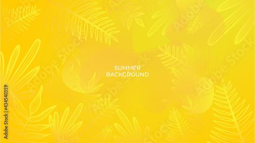Billede på lærred Colourful minimal summer background with flowers and tropical summer leaf