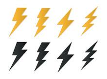 Set Lightning Bolt Icons, Thunderbolt Flat Style, Yellow Flash Thunder Symbols , Electric Thunderbolt, Lighting, Electric Charge Icon For Apps And Websites
