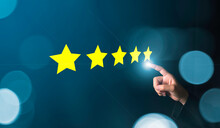 Customer Review Good Rating Concept Hand Pressing Five Star On Visual Screen And Positive Customer Feedback Testimonial.