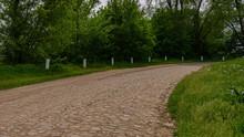 Old Granite Stone Road, Rural Landscape. Natural Background.