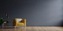 Interior Has Yellow Armchair Empty Dark Wall