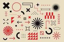 Abstract Geometric Elements Bauhaus Swiss Style. Brutalism Bold Minimal Geometry Shapes, Vector Digital Graphic Design
