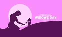 Vector Illustration Of A Woman Putting Flowers On Her Husband's Tombstone As A Banner, Poster Or Template On International Widows Day.