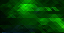 Abstract Light Green Mosaic Stained Glass Effect Hexagon Stone Gradient Texture With Triangle Geometric On Dark Black.