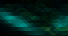 Abstract Light Greenish Blue Mosaic Stained Glass Effect Hexagon Stone Gradient Texture With Triangle Geometric On Dark.