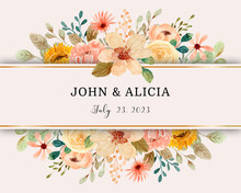 Save The Date. Watercolor Floral Frame Border