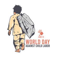 Vector Graphic Of World Day Against Child Labor Good For Day Against Child Labor Celebration. Flat Design. Flyer Design.flat Illustration.