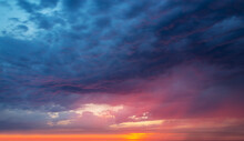 Colorful Dramatic Sky With Clouds At Sunset, Nature Background