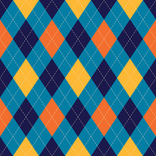 Argyle Pattern Colorful In Navy Blue, Orange, Yellow. Seamless Stitched Rhombus Vector Graphic For Spring Autumn Winter Socks, Sweater, Jumper, Gift Paper, Other Modern Paper Or Textile Design.