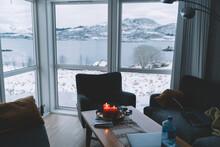 Cozy Living Room Viewing Cold Seashore