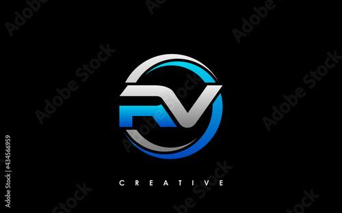 Fotografiet RV Letter Initial Logo Design Template Vector Illustration