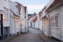 Traditional Wooden Houses In Stavanger Historical City Center, Norwegian Architecture, Norway