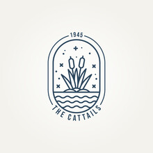 Cattails Minimalist Line Art Logo Badge Vector Illustration Design. Simple Modern Reed, Plant, Creek Emblem Logo Concept