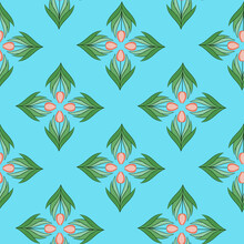 Seamless Pattern With Tulips In Flat Modern Style. Design From Multi-colored Tulips In Damascus Style. Vector