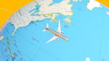 Plane Flying Around A Globe Map 3d Illustration Render