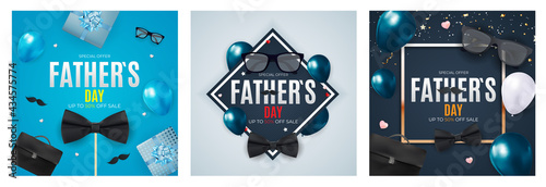 Fotografie, Obraz Happy Father`s Day Background collection set