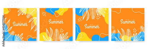 Vector set of colourful social media stories design templates, backgrounds with copy space for text - summer landscape. Summer background with leaves and waves