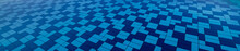 Blue Abstract Pattern With Rectangular Ceramic Swimming Pool Tiles.