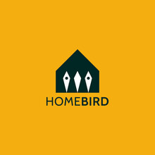 Home And Bird Logo Design Concept. Dual Meaning Logo. Expensive Mark