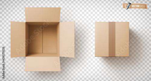 Fotografía Boîtes en carton vectorielles sur fond transparent