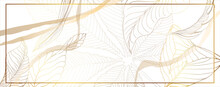 Luxurious Golden Wallpaper. White Background. Gold Leaves Wall Art With Shiny Golden Light Texture. Modern Art Mural Wallpaper. Vector Illustration.