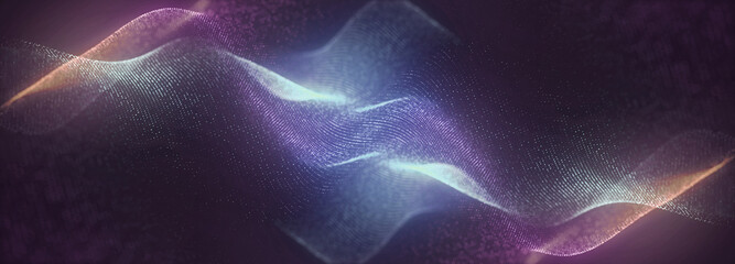Abstract colorful digital particles wave with bokeh and light background, 3d render wave line dot background, line wave light glowing effect particular background.
