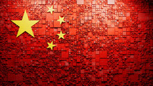 Flag Of China Rendered In A Futuristic 3D Style. Chinese Innovation Concept. Tech Background.