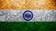 Flag Of India Rendered In A Futuristic 3D Style. Indian Innovation Concept. Tech Background.