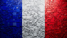 Flag Of France Rendered In A Futuristic 3D Style. French Innovation Concept. Tech Background.