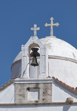Dome Of A Little Chapel In The Landscape Of Crete Greece With Two Crosses