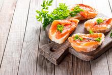 Mini Salmon Sandwiches On Board. Copy Space