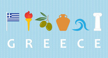 Travel To Greece Concept; Flag, Torch, Olives, Clay Amphora, Sea And Greek Ancient Column - Vector Illustration