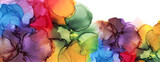 Abstract bubble blot watercolor rainbow color paintting background. Marble alcohol ink.