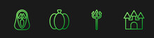 Set Line Neptune Trident, Funny And Scary Ghost Mask, Pumpkin And Castle. Gradient Color Icons. Vector