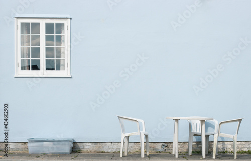 Fotografiet two chairs and table, simple style