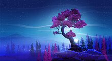Vector Fantasy Night Landscape With With A Beautiful Curved Tree, Mountains And Tree On A Starry Sky Background. Burgundy Foliage And Nightly Fabulous Colors