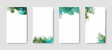 Green Abstract Watercolor Alcohol Ink Backgrounds For Social Media Stories Banners