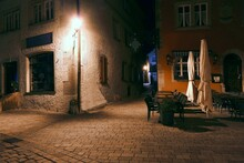 Night Rhothenburg, Bavaria, Europe,  Ancient Town Of Germany - Rothenburg Ob Der Tauber, Wonderful View Histotical Town Of  Romantic Road Of Germany,