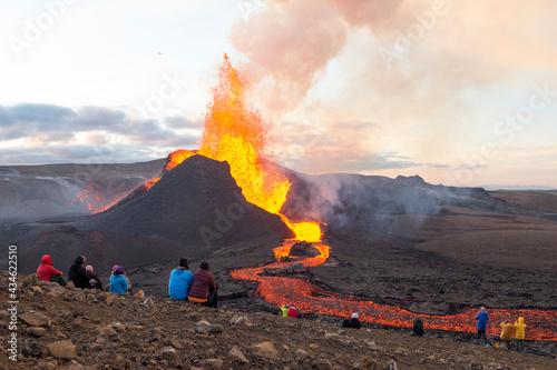 GELDINGADALIR, ICELAND - 11 MAY, 2021: A small volcanic eruption started at the Reykjanes peninsula Fototapet