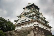 Osaka Castle, Japanese Hill-top Fort With A Famous Medieval Edo Keep. Osaka City, Japan.