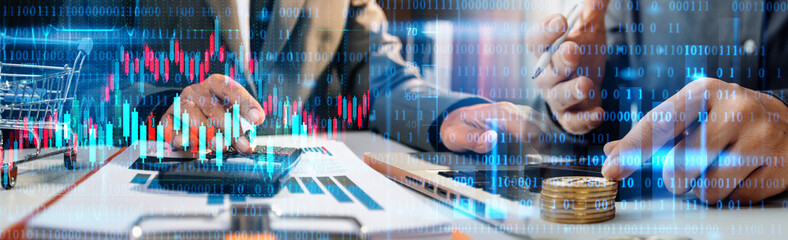 business finance technology and investment concept. Stock Market Investments Funds and Digital Assets. businessman analyzing forex trading graph financial data. Business finance background.