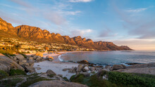 Sunset Over Camps Bay Beach In Cape Town, Western Cape, South Africa.