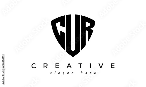 Fotografia CUR letter creative logo with shield