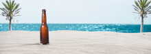 Background Of A Beautiful Beach With A Cold Beer - Graphic Resource For Design