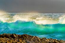 Green Translucent Wave, Light, Ocean, Spray